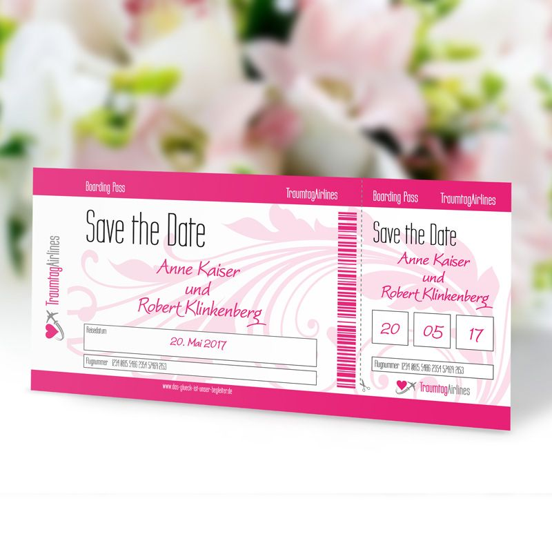 save the date karte hochzeit flugticket. Black Bedroom Furniture Sets. Home Design Ideas