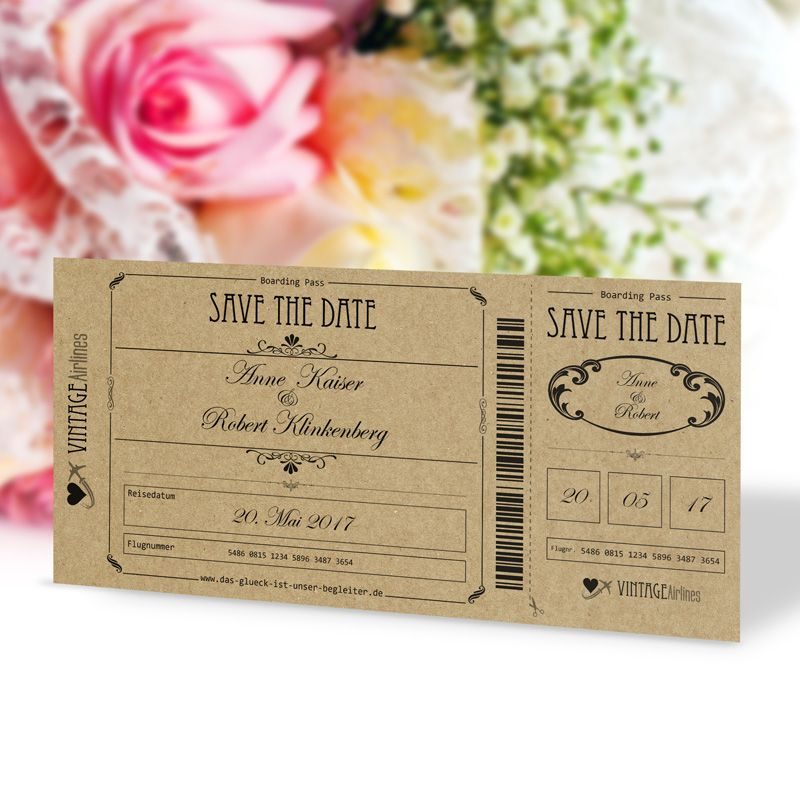 save the date karte hochzeit vintage boarding pass. Black Bedroom Furniture Sets. Home Design Ideas