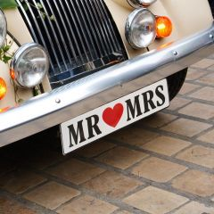 Autoschmuck Nummernschild Mr & Mrs