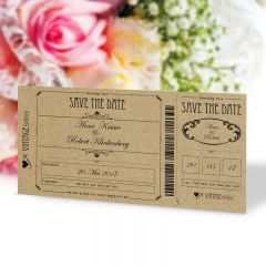 Save the Date Karte Hochzeit Vintage Boarding Pass