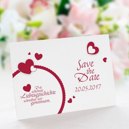 save the date karten zur hochzeit inklusive textdruck. Black Bedroom Furniture Sets. Home Design Ideas