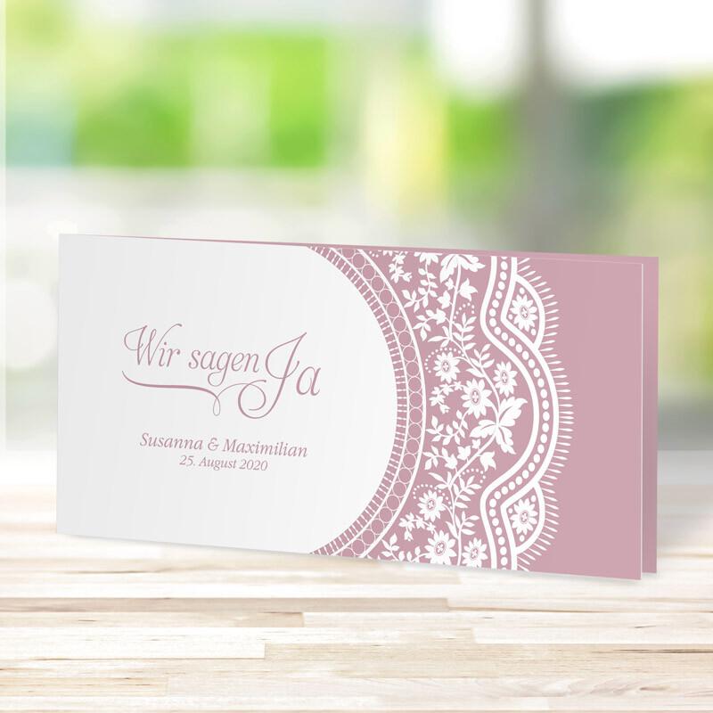 Einladungskarte Hochzeit Spitzentraum Rose Mit Fotos