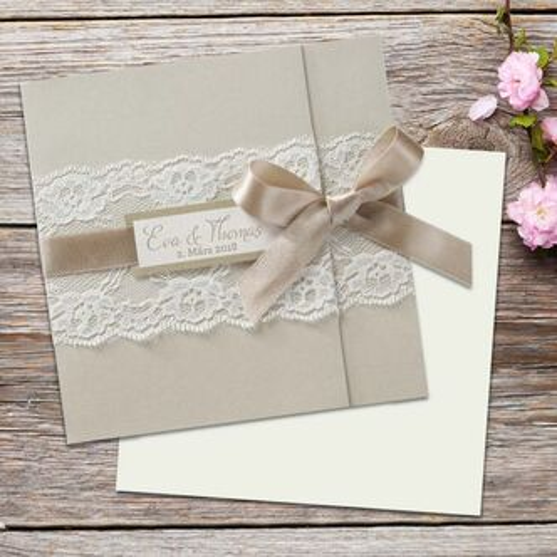 Hochzeitseinladung Creme Mit Spitze Drucken Lassen