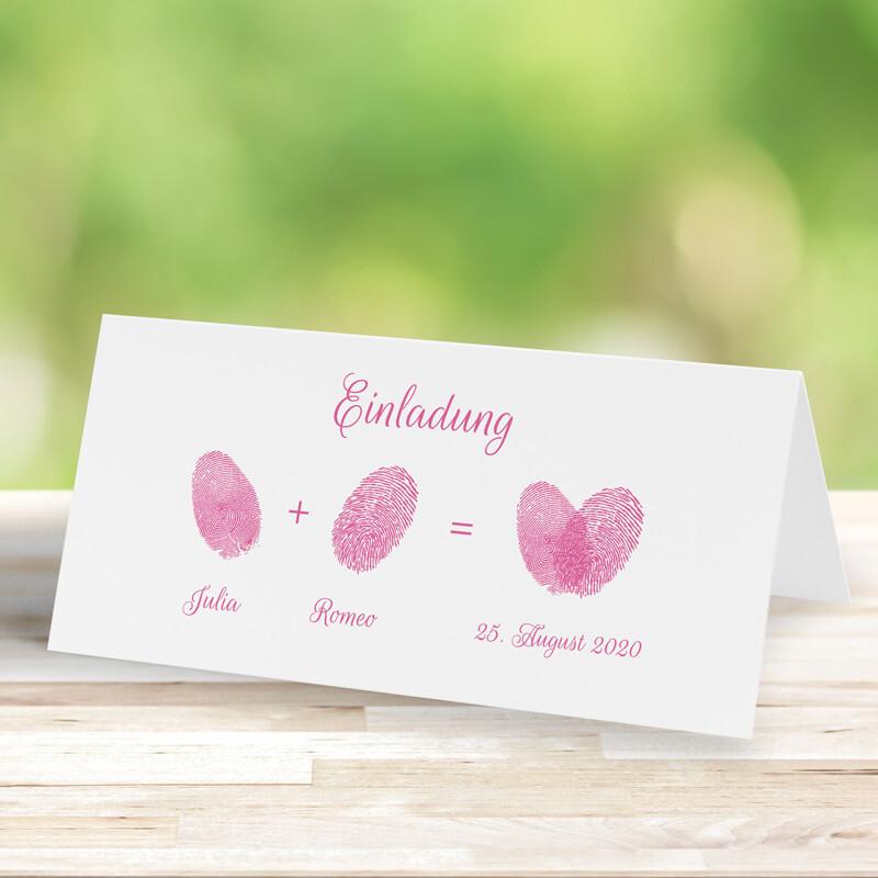Hochzeitseinladung Lovely Fingerprints In Rosa Drucken