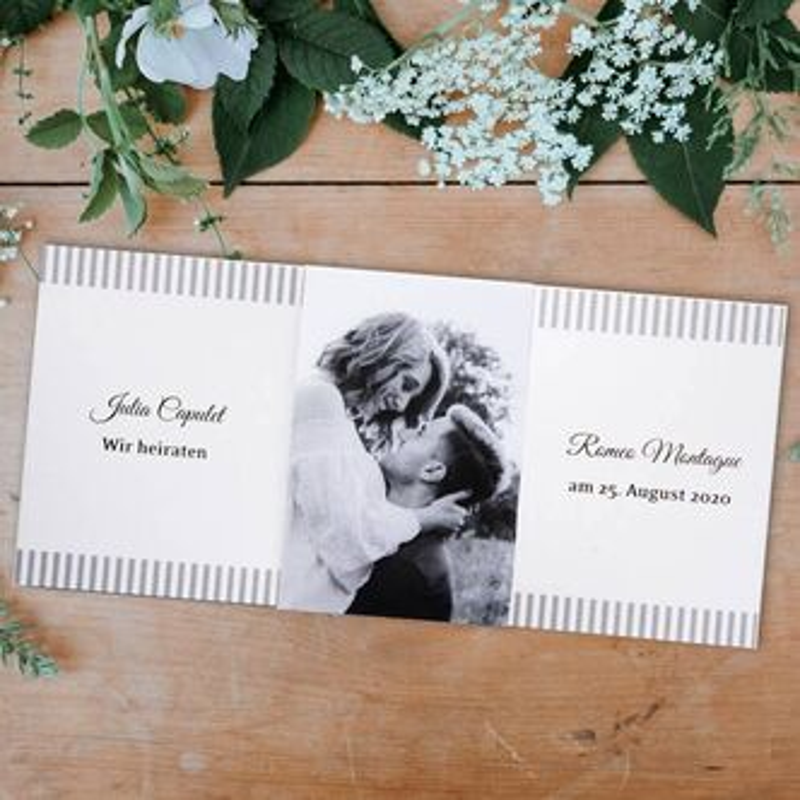 Hochzeitseinladung Mit Fotobanderole Altarfalz