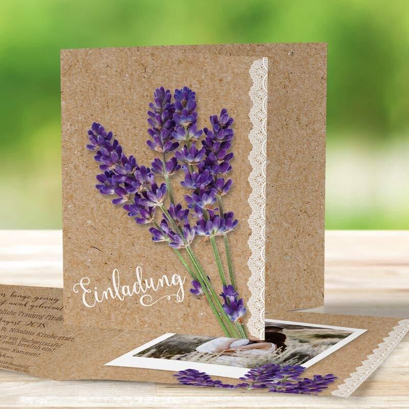 Einladungskarte Hochzeit Vintage Lavendel mit Wickelfalz