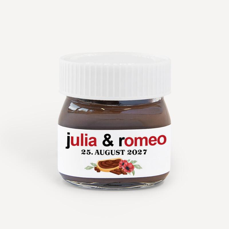 Gastgeschenk Hochzeit Mini Nutella Glas Personalisiert