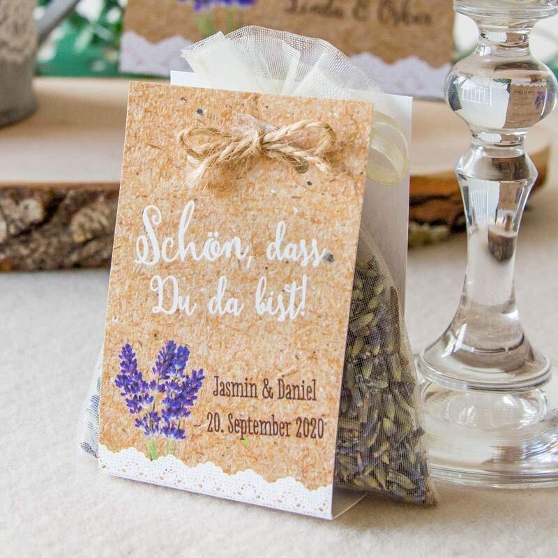 Gastgeschenk Lavendelsackchen Mit Banderole Vintage Lavendel