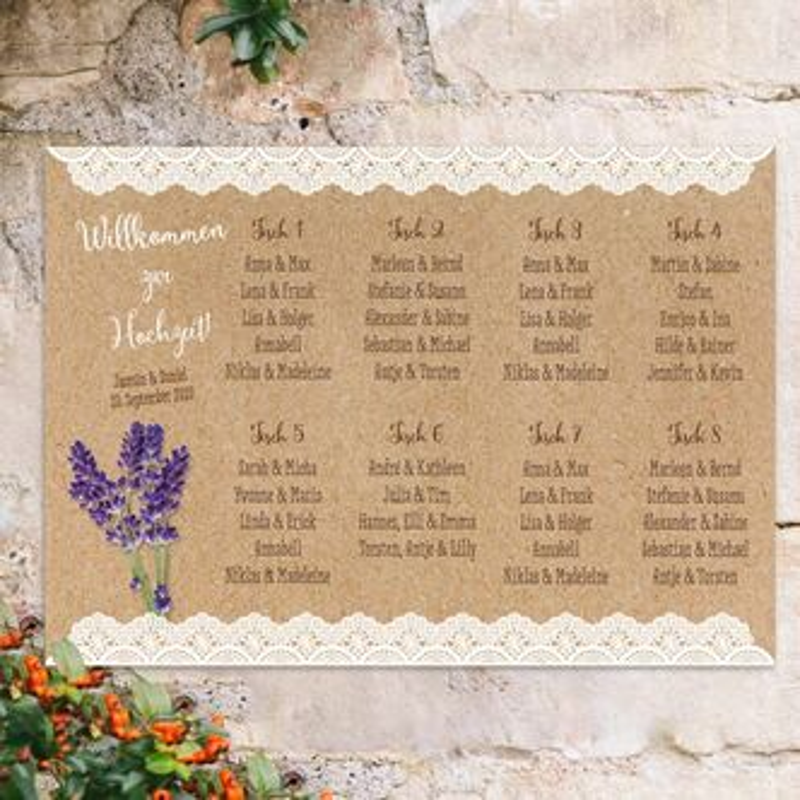 Sitzplan Hochzeit Vintage Lavendel Inkl Personalisierung