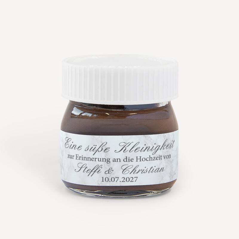 Gastgeschenk Mini Nutella Glas Mit Aufkleber Marmor