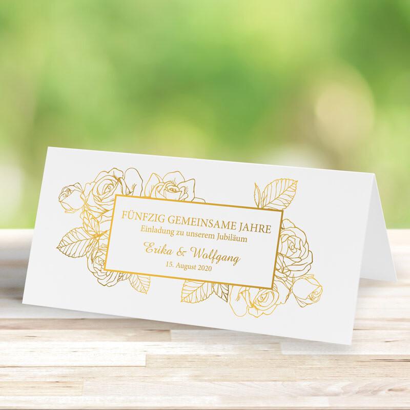 Einladungskarte Goldene Hochzeit Goldene Rosen