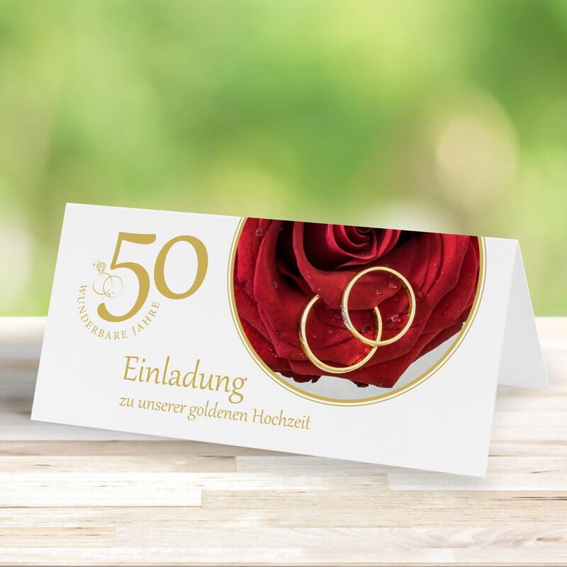 Einladungskarte Goldene Hochzeit Rote Rose