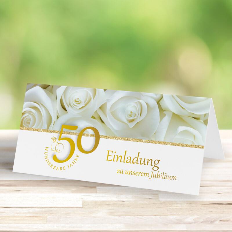Einladungskarte Goldene Hochzeit Weisse Rosen Mit Foto