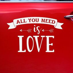 Autoaufkleber Hochzeit Love is all you need