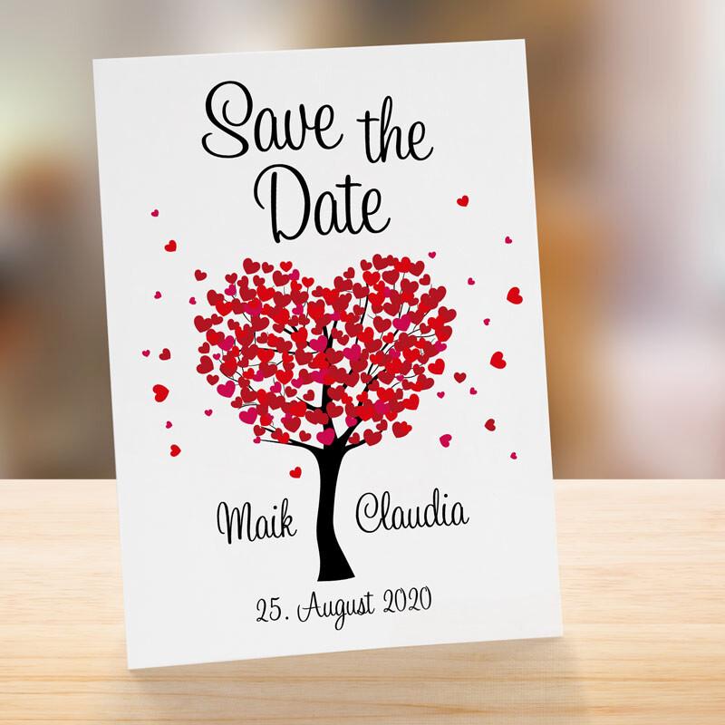 Karte Hochzeit.Save The Date Karte Hochzeit Herzbaum