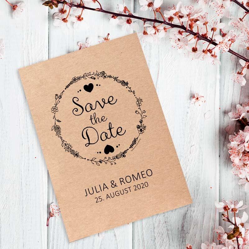 Save The Date Karten Vintage.Save The Date Karte Hochzeit Vintage Natural
