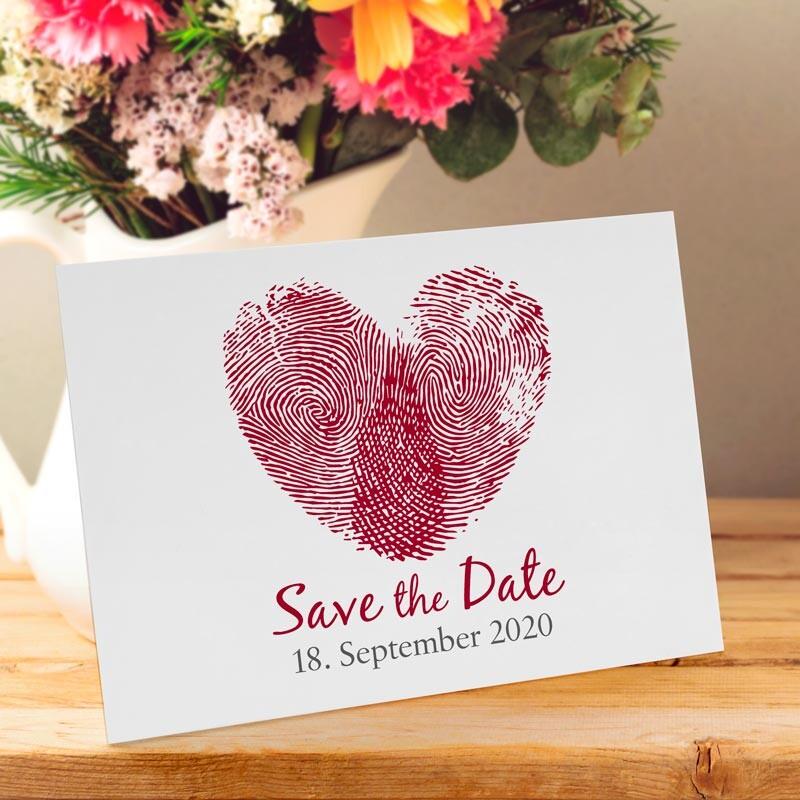 Karte Hochzeit.Save The Date Karte Hochzeit Fingerabdrücke