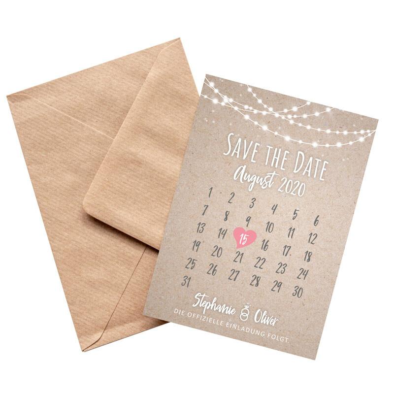 Save The Date Karten Vintage.Save The Date Karte Hochzeit Lichterkette
