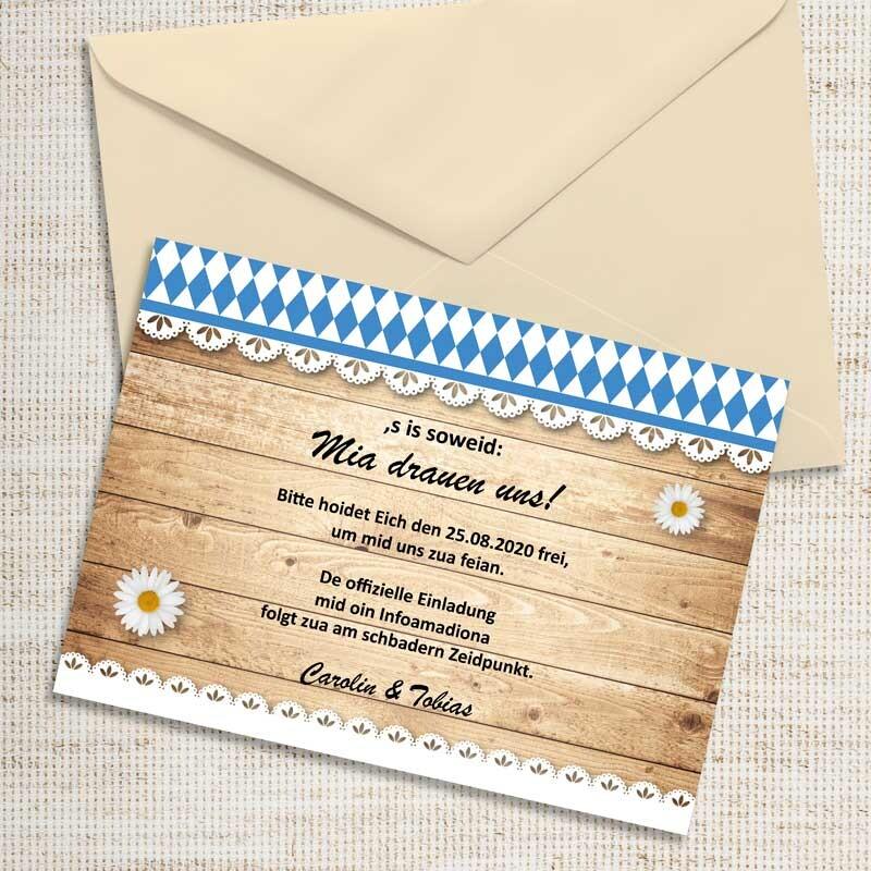 Save The Date Karte Hochzeit Bayrisch