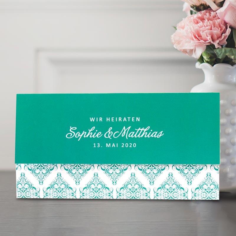 Einladungskarten Zur Hochzeit In Turkis Gleich Bestellen