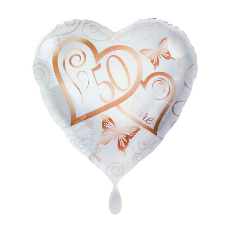 Herz Folienballon Zwei Herzen Fur Die Goldene Hochzeit Bestellen