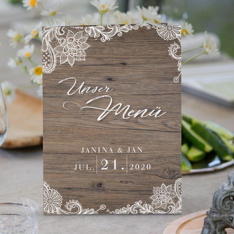 Menükarte Hochzeit Holz Und Spitze Online Bestellen