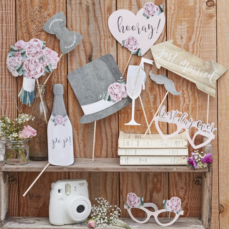 Photo Booth Set Rustic 10 Teile