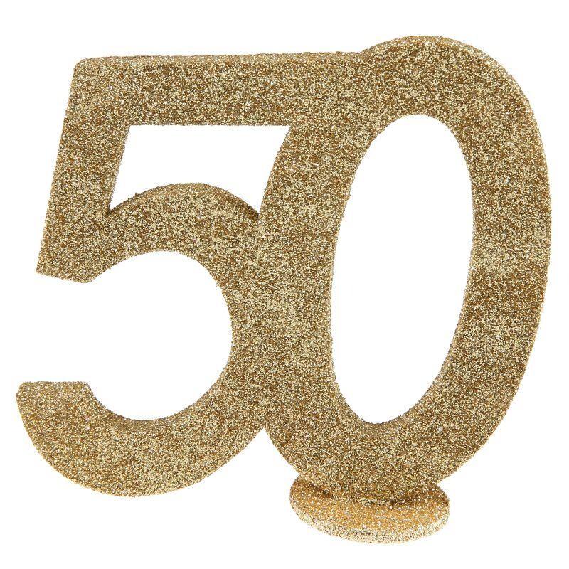 Tischdeko Goldene Hochzeit Glitterzahl 50