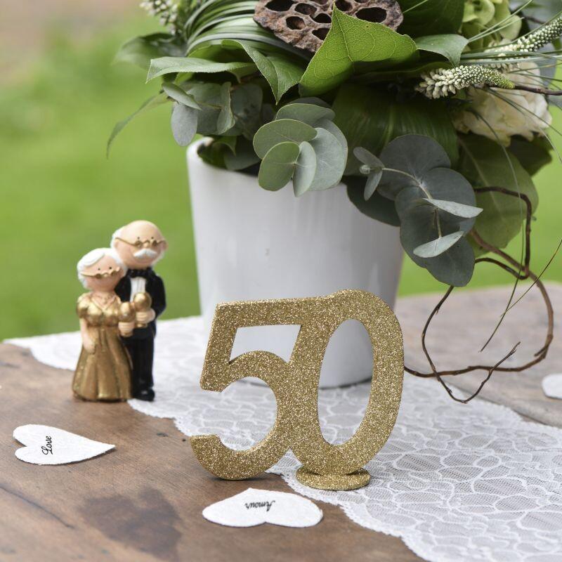 Schimmernde Tischdeko Goldene Hochzeit Glitterzahl 50