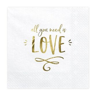 Servietten gold All you need is Love 33 x 33 cm Tissue 20...
