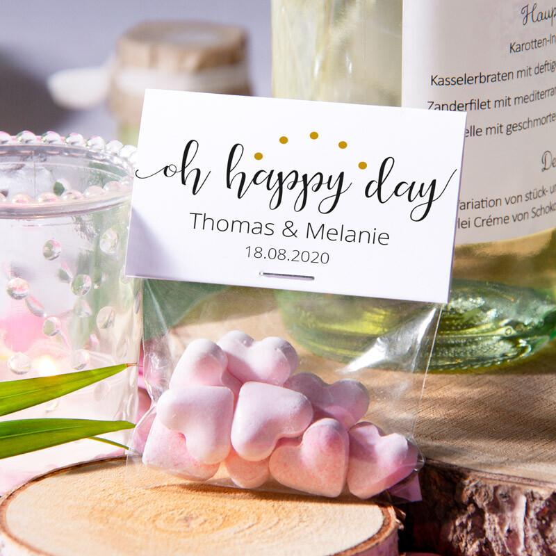Mit Transparent Happy Tüte Etikett Day Gastgeschenk Oh shrdCtQ