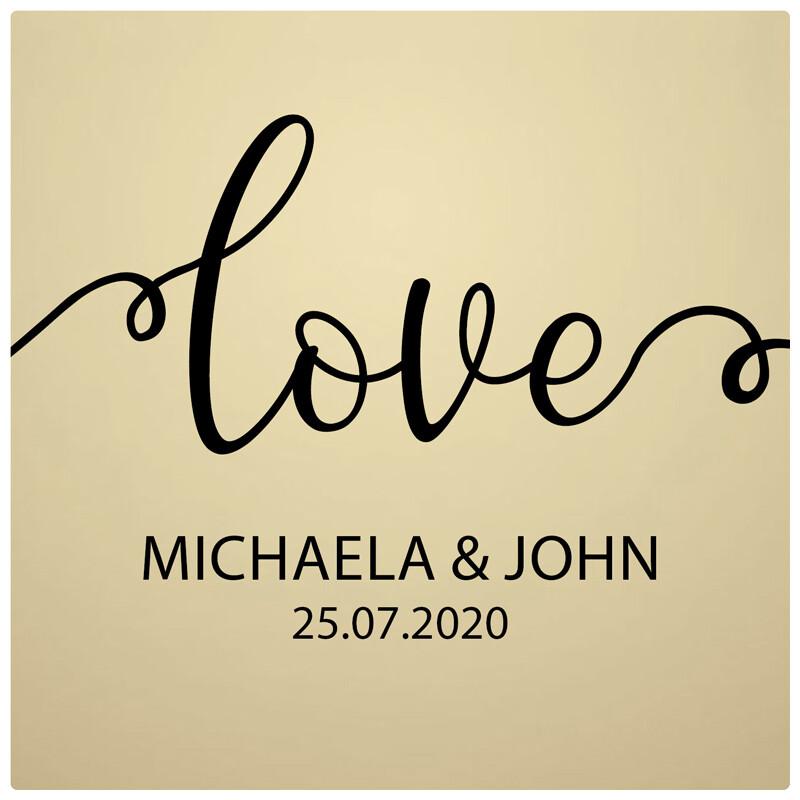 Aufkleber Hochzeit Gold Love Personalisiert