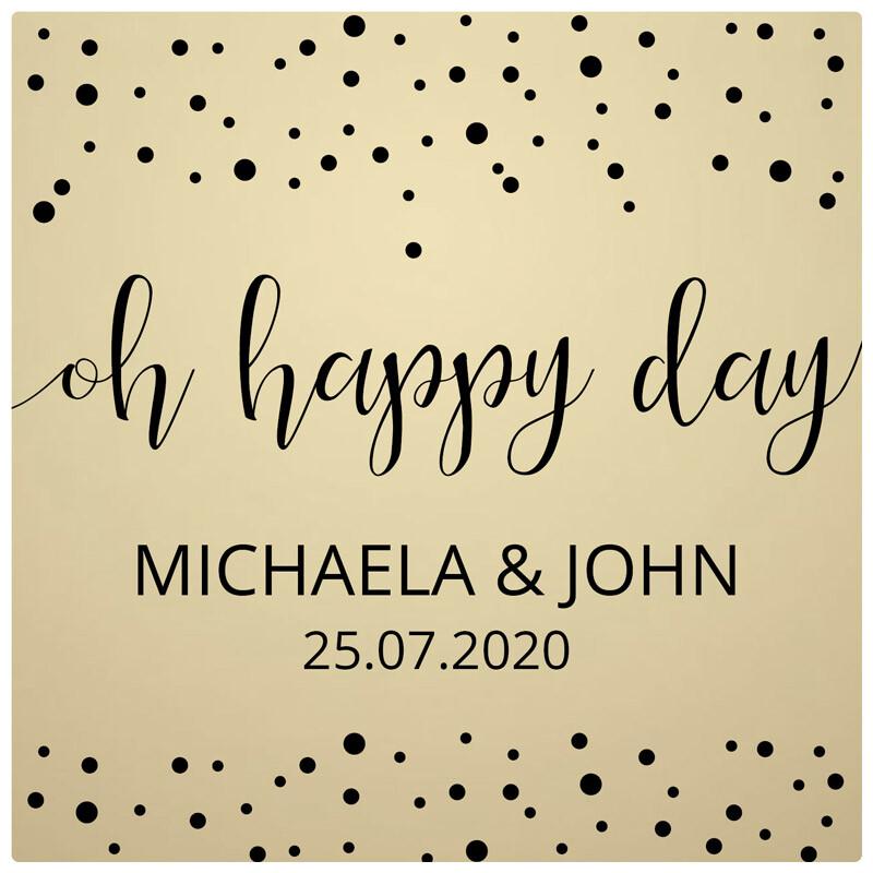 Aufkleber Hochzeit Gold Oh Happy Day Personalisiert