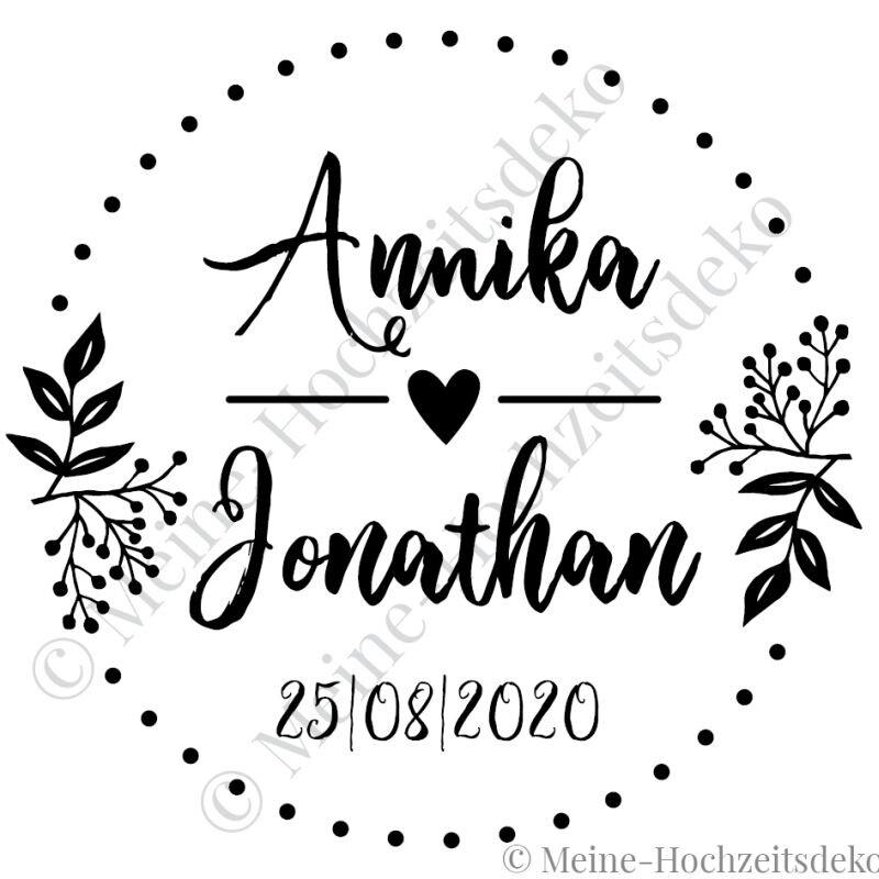 Aufkleber Hochzeit Rund Boho Personalisiert