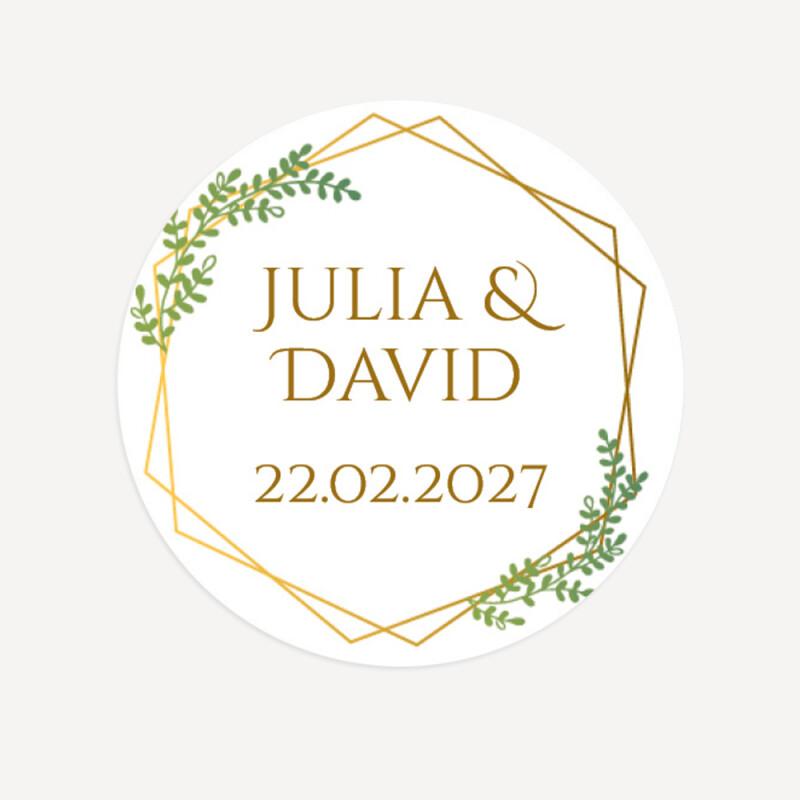 Aufkleber Hochzeit Rund Geometric Greenery Personalisiert