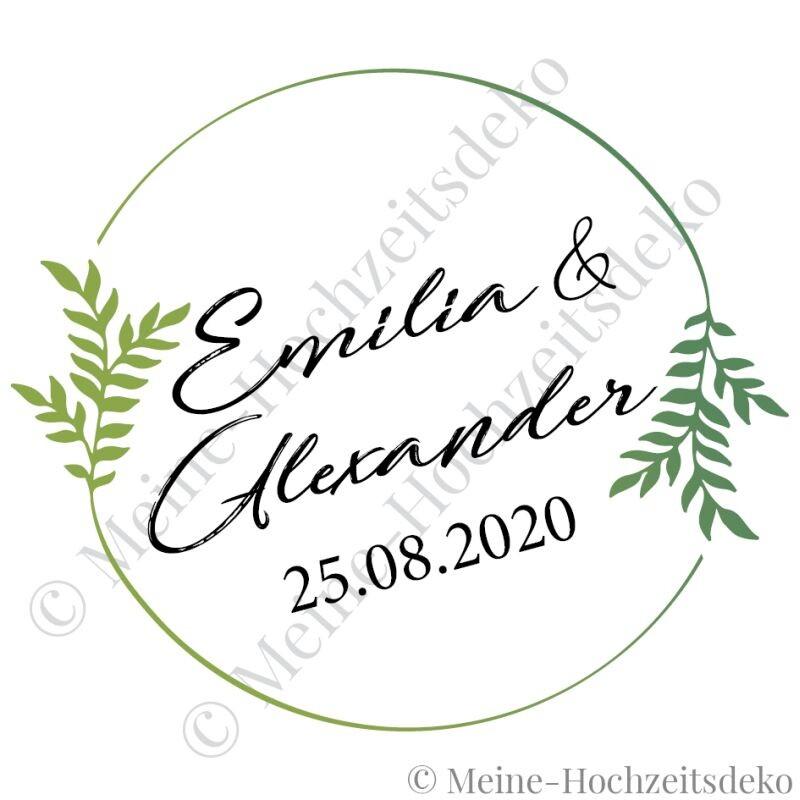 Aufkleber Hochzeit Rund Floral Personalisiert