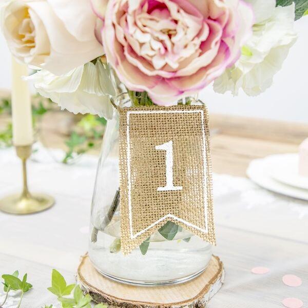 Tischnummern Hochzeit Jute 20 Stück