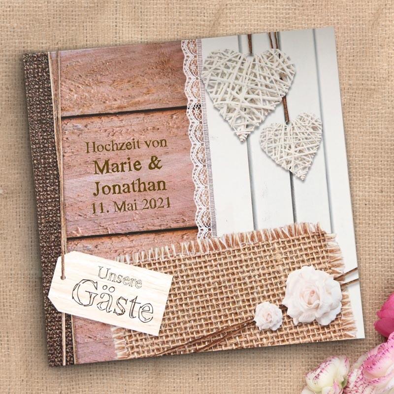 """Gästebuch zur Hochzeit im Boho Stil /""""Bilderrahmen Holzherzen/"""" Hochzeitsgästebuch"""