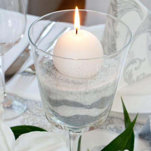 Tischdeko In Silber Zur Hochzeit Oder Silberhochzeit