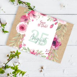 Save the Date Karte Blumen Aquarell Kraftpapier