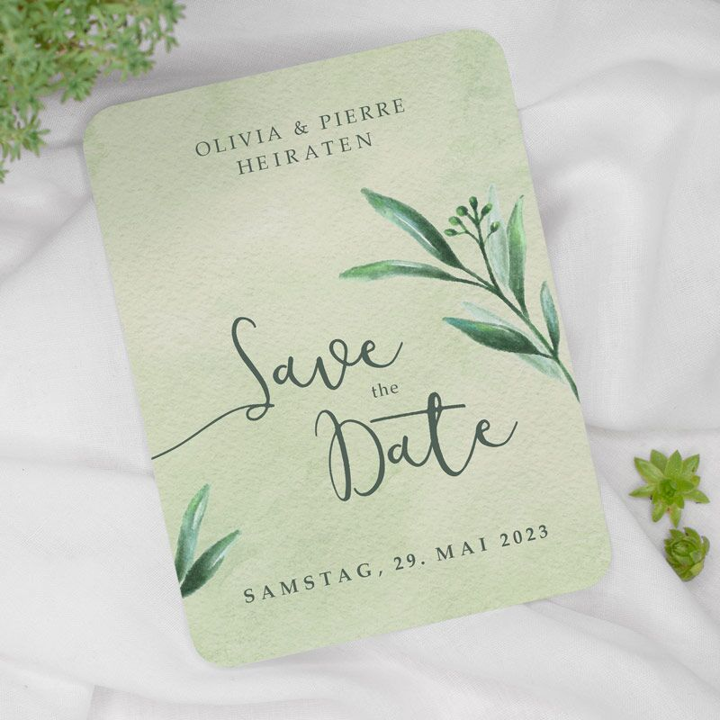 Save the Date Karte Olivenzweig Watercolor