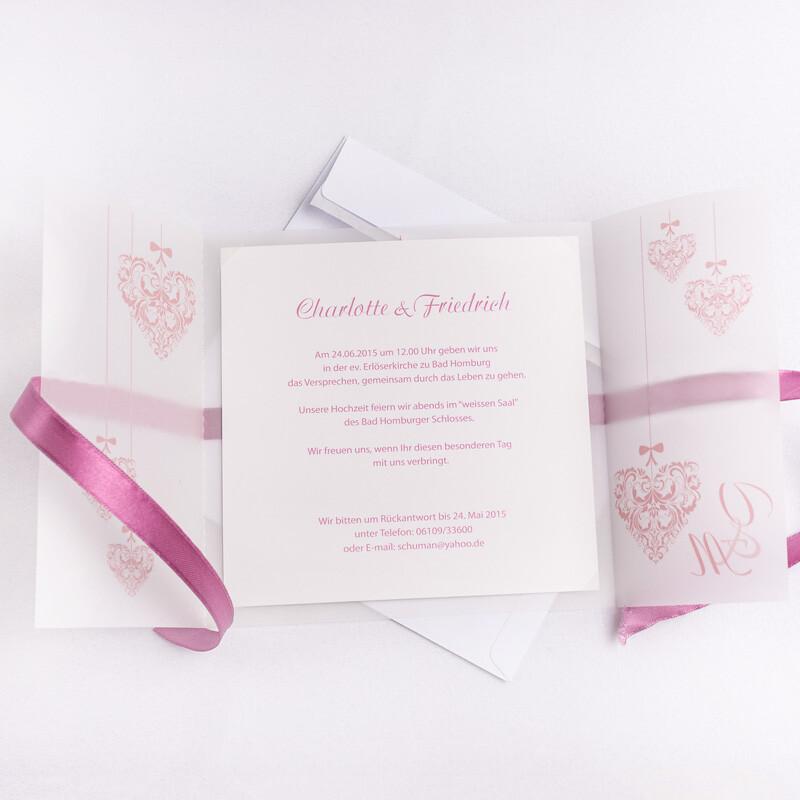 Einladungskarte Hochzeit Vintage Herz