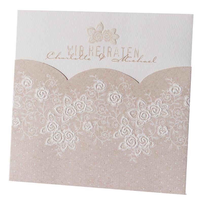 Einladungskarte Hochzeit Vintage Rosen Rose 725078