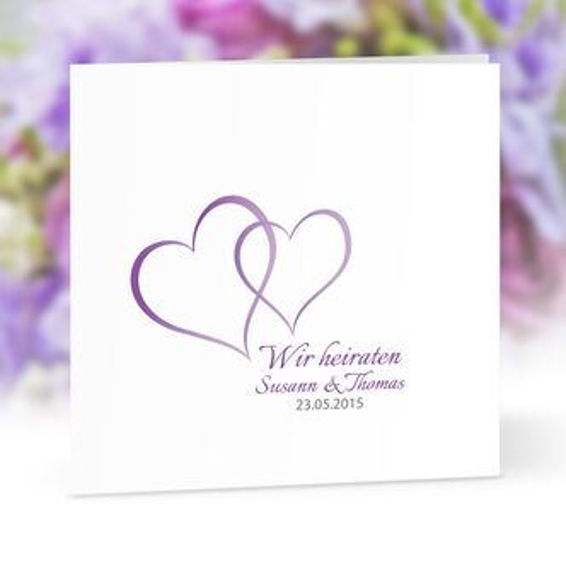 Hochzeitseinladung Zwei Herzen Lila