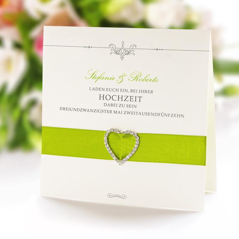 Hochzeitseinladung Romantic Elegance Grün