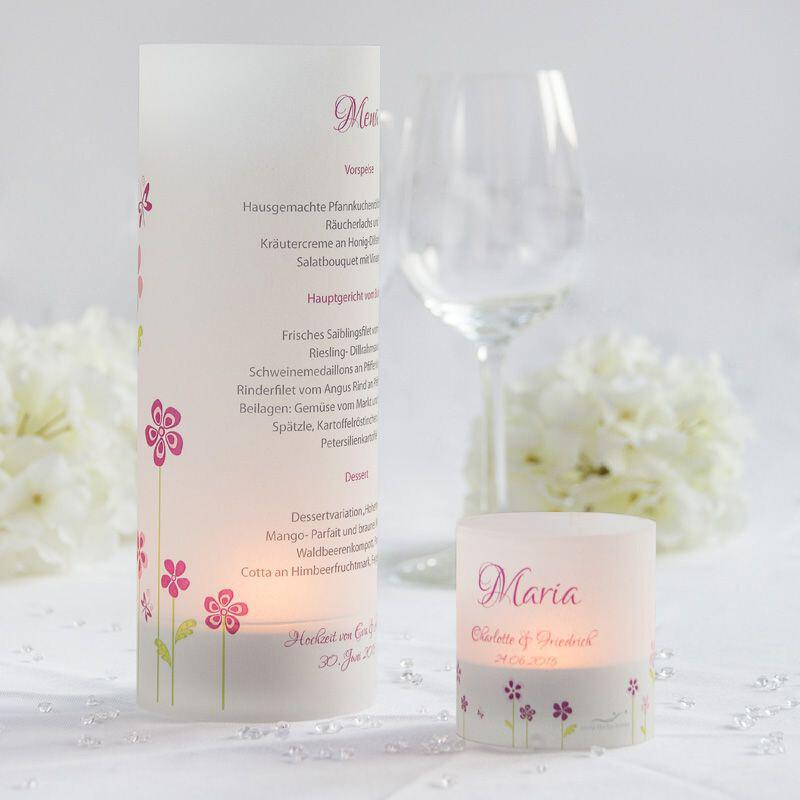 Tischkarte Windlicht Hochzeit Blumenwiese