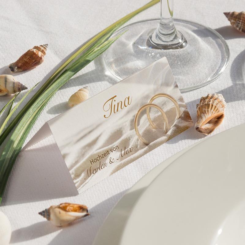 Tischkarte Hochzeit Ringe Im Sand