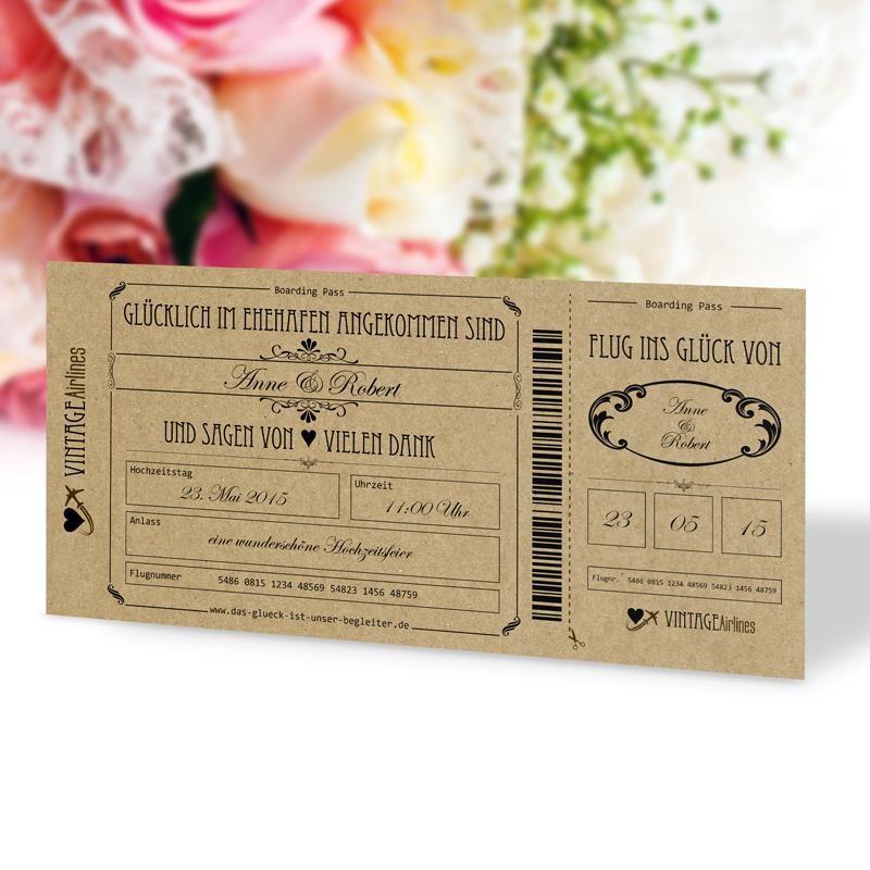 Danksagung Hochzeit Vintage Boarding Pass