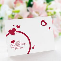 Save the Date Karte Hochzeit Lovestory rot ohne Text /...