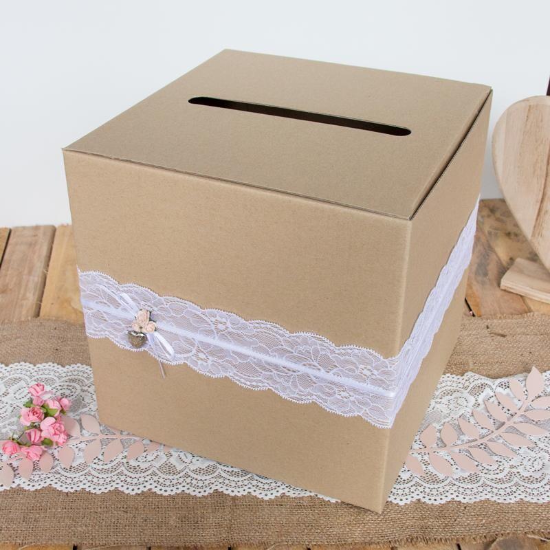 Briefbox Hochzeit Vintage Mit Spitze Braun